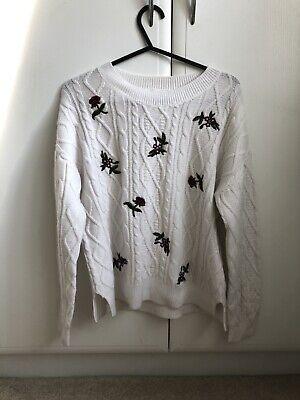 Vintage Cable Knit White Cream Floral Jumper