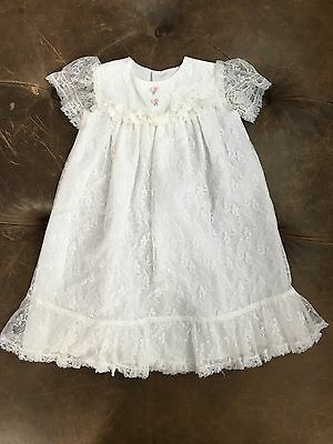 VINTAGE HANDMADE Princess Sleeved White Lace Christening Gown Dress 3-6 Mo