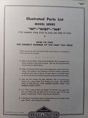 Briggs Stratton Wi Wibp Wr Horizontal Gasoline Engine Parts Catalog Manual