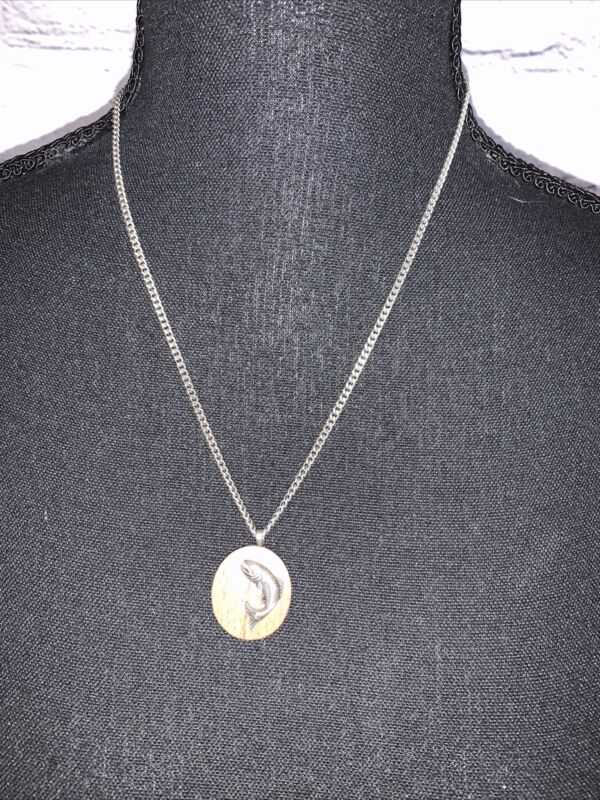 Avon Silver Tone Chain Necklace with Fish on Wooden Pendant