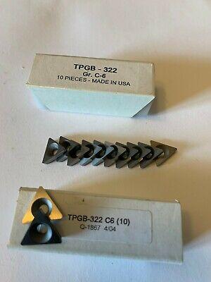New 10 Pcs. Usa Tpgb 322 C 6 Grade Indexable Carbide Inserts