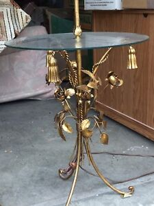 Vintage glass top table with lamp