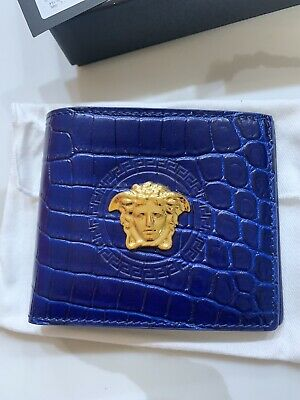 Authentic Versace Mens Mock Croc Print Calf Leather Wallet New In box Orig.$450