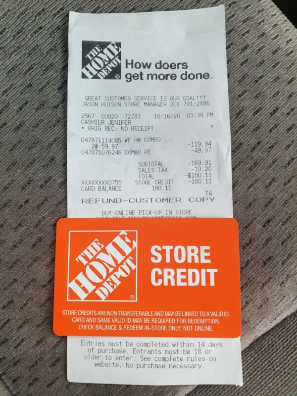 $180 The Home Depot Store Credit Card Gift