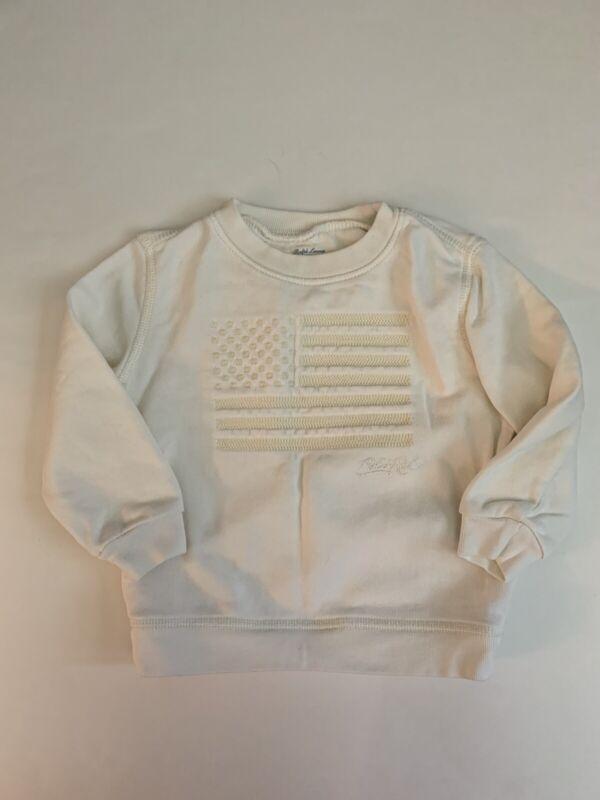 Polo Ralph Lauren Boys Embroidered Sweatshirt Ivory Cream American Flag 18M