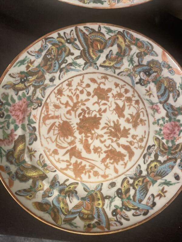 (2) Very Rare 1000 Butterfly Canton Rose Pattern China 1850