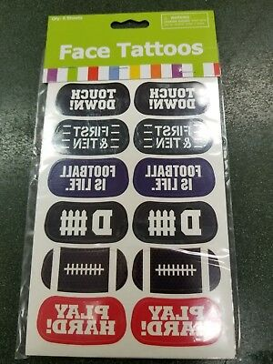 """Football """"sayings""""  Face Tattoos Set of 72 Tattoos 6 sheets of 12  Touchdown"""