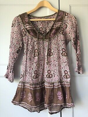 Vintage Indian 70s Gauze Smock Blouse Dress XXs Or Childs ? Phool