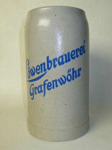 LOWENBRAUEREI GRAFENWOHR GERMAN BEER MUG 1 LITRE STONEWARE STEIN SALT GLAZE