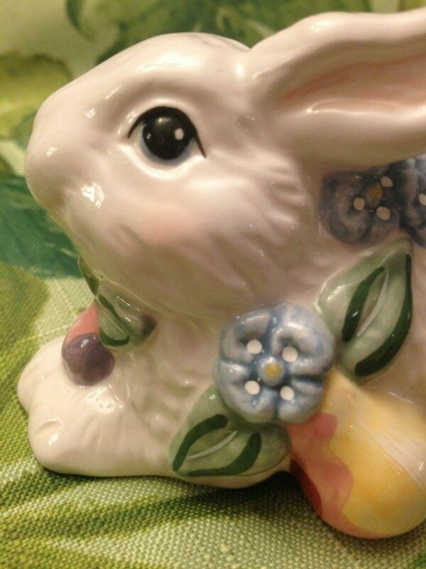 Rabbits, Ceramic, White, Easter, Spring Decor., Flowers & Fruit Motif, Pair