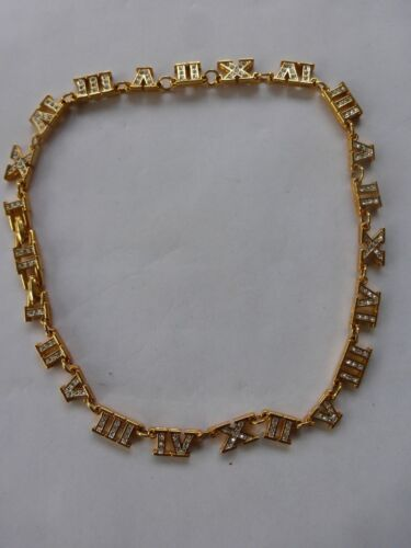 Vtg Gold Metal Rhinestones Roman Numerals Charms Neoclassic Necklace Choker