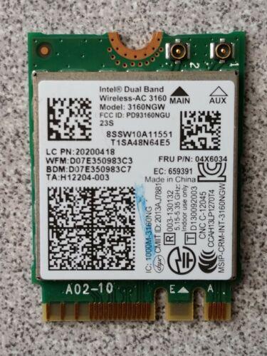 Lenovo Y40-70 Intel Dual Band Wireless-AC 3160 WiFi Card 3160NGW 04X6034 GENUINE