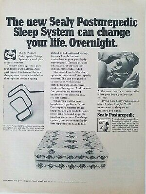 1969 Sealy Posturepedic Sleep Sistema Colchón Cama Vintage Cama Anuncio