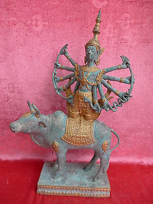 Beautiful, Old Bronze Figure__Goddess on Cow __ Shiva on Nandi __42cm ___
