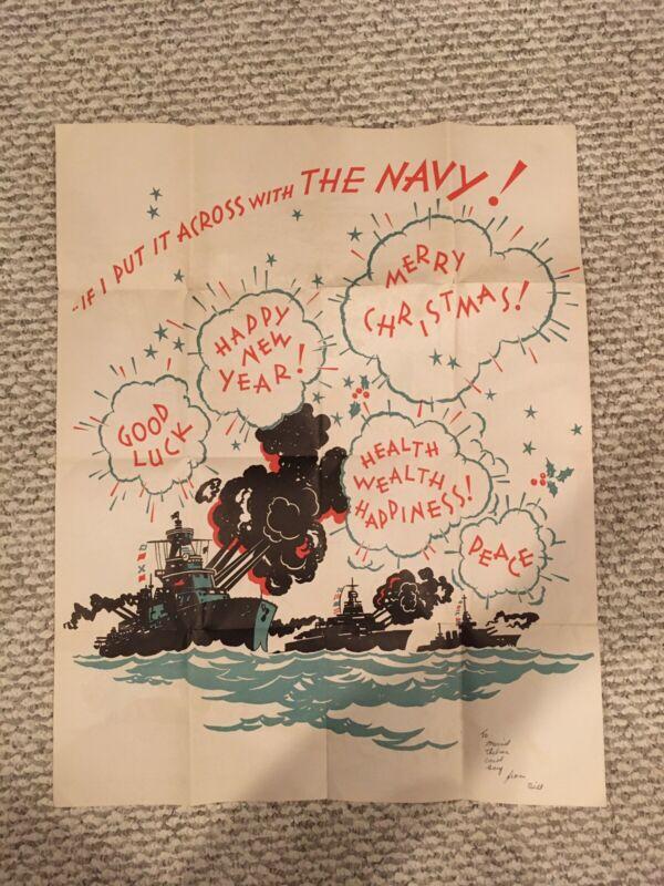 Original Rare Wwii Christmas Poster 24x19