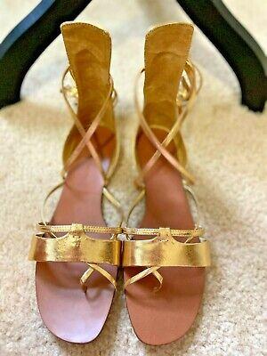ZARA Gold Lace-Up Wrap Sandals - sz 7.5 38 - Women's Shoes