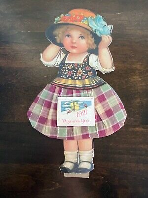 Vintage Die Cut Calendar 1921 Little Girl Complete Pad Fabric Skirt