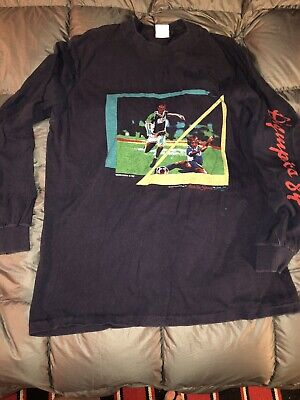 Vintage Olympic 1984 Soccer Long Sleeve T Shirt Distressed Sz Large