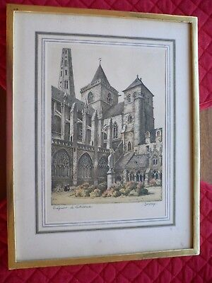 Coloured Lithograph Barday Treguier (Brittany) La Cathedrale Signed in pencil