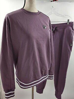 Fila Womens L Purple Mauve Sweatshirt & Jogger Sweatpants Sweatsuit Ladies Crew