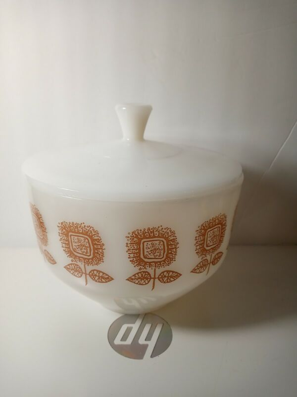 Vintage Federal Sunflower Bowl With Lid