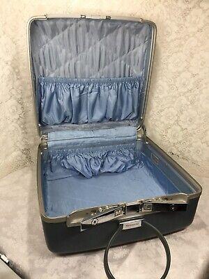 Vtg SAMSONITE Blue Square Luggage Suitcase Hat Box Hardside 16 x 15 x 8