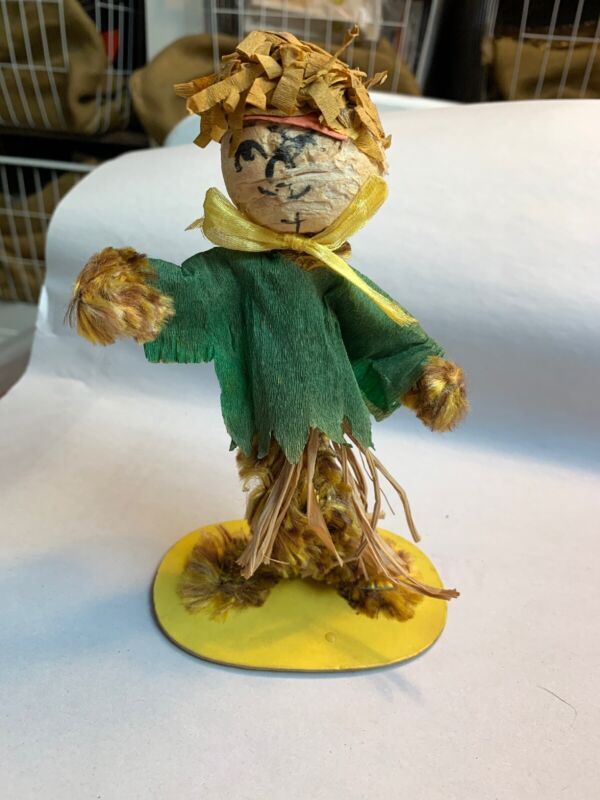 """Vintage Handmade Chenille Crepe Paper Scarecrow Halloween 6.5"""" Tall  #D"""