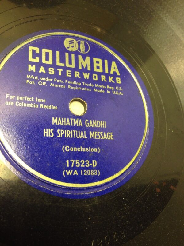 Very Rare 78 rpm Record: MAHATMA GANDHI'S SPIRITUAL MESSAGE, 1931 E