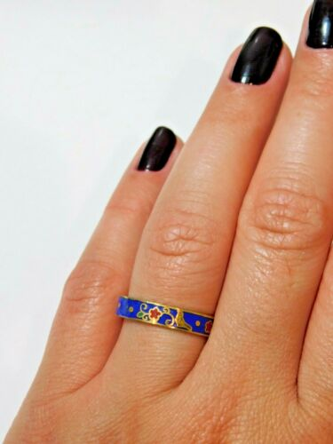 Vintage Dainty Blue Red Floral Pattern Cloisonne Enamel Ring Sz 7