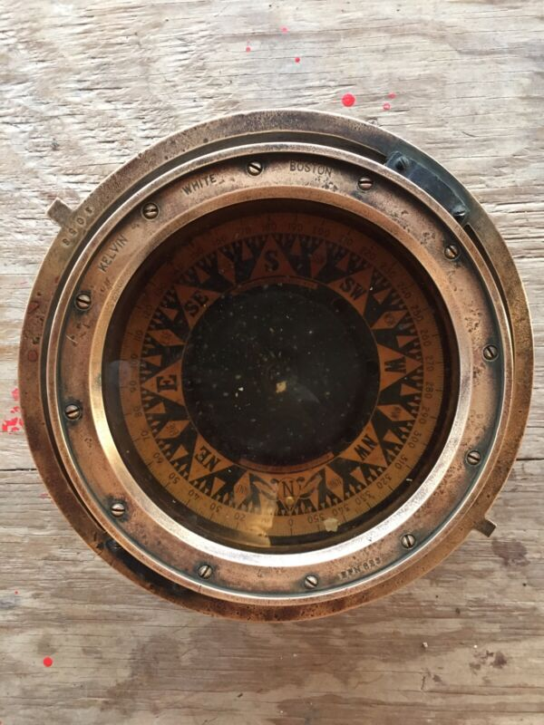 Kelvin & Wilfrid O. White Co. Vintage/Antique Gimbal Nautical Compass Brass