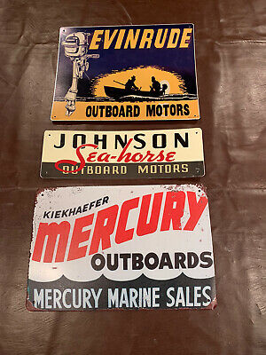 3 VINTAGE REPRODUCTION OUTBOARD MOTOR DEALER SIGNS EVINRUDE MERCURY JOHNSON
