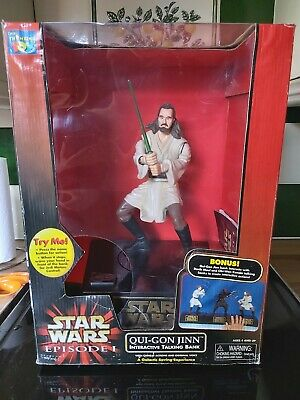 Star Wars Episode 1 Phantom Menace Qui-Gon Jinn Interactive Talking Money Bank