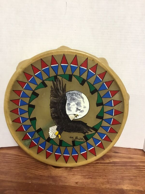 VINTAGE NATIVE AMERICAN/NAVAJO HAND MADE RAWHIDE DRUM PAINTED 13X13 SIGNED