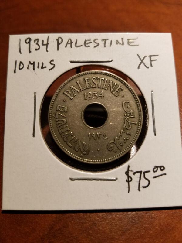 Palestine Coin 10 Mils 1934 XF