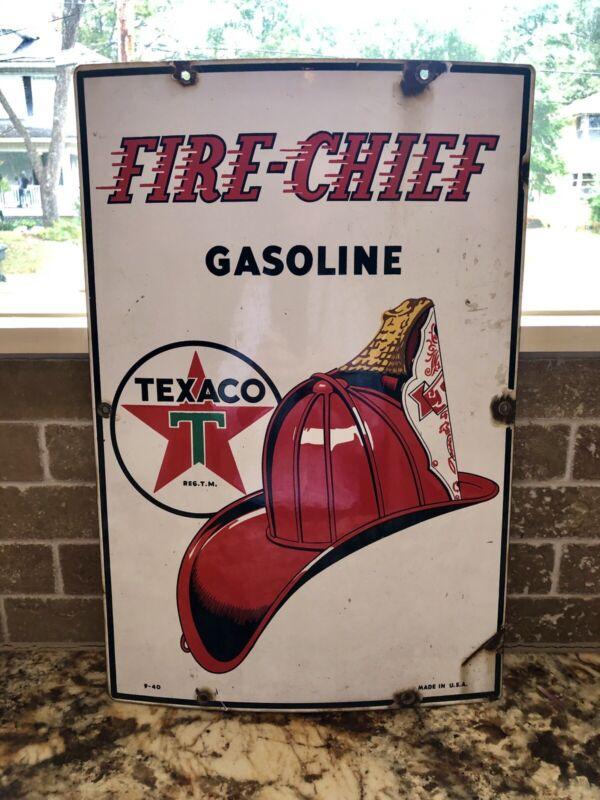 "Original 1940 Texaco Fire Chief Pump Plate Gas & Oil Sign 18""X12"" Rare"