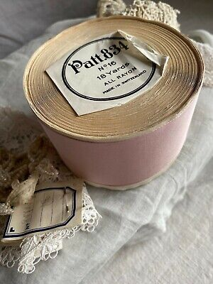 Vintage Pink Tape Antique Ribbon Rayon Vintage Wedding, Period Costume Drama/ 2y