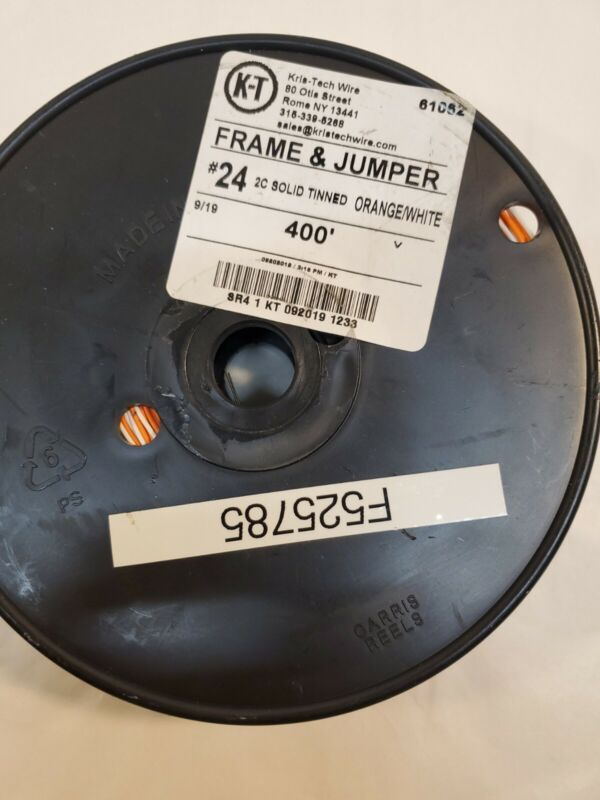 Kris Tech Wire Frame And Jumper #24 2C Solid Tinned 400' Orange/White 62156
