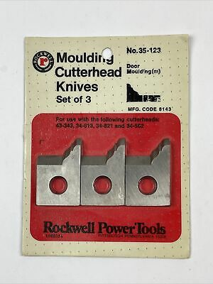 Rockwell Moulding Cutterhead Knives Set Of 3 No. 35-123 Door Moldingm