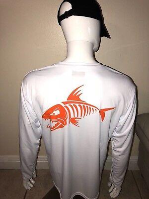 Men's customized fish design dri fit white long sleeve (Fishing Shirt). ()