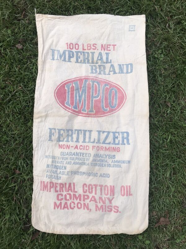 RARE ANTIQUE NICE IMPERIAL COTTON OIL MACON MISS ADVERTISING FERTILIER FEED SACK