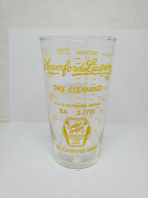Vintage advertising measuring glass - Haverford Laundry #2 (1497)