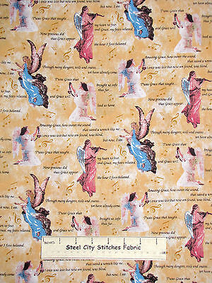 Amazing Grace Song Lyrics God Religious Angel Cotton Fabric CP50415 By The - Awesome God Lyrics