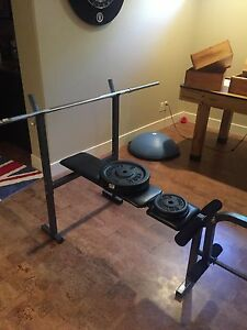Bench, bar, and weights for sale
