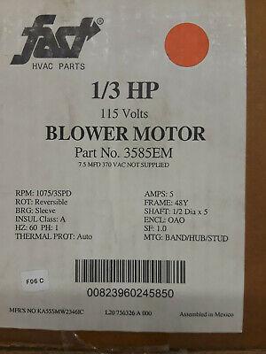 Blower Motor 3585em 13 Hp 115v Direct Drive 12 X 5 Shaft 1075 Rpm
