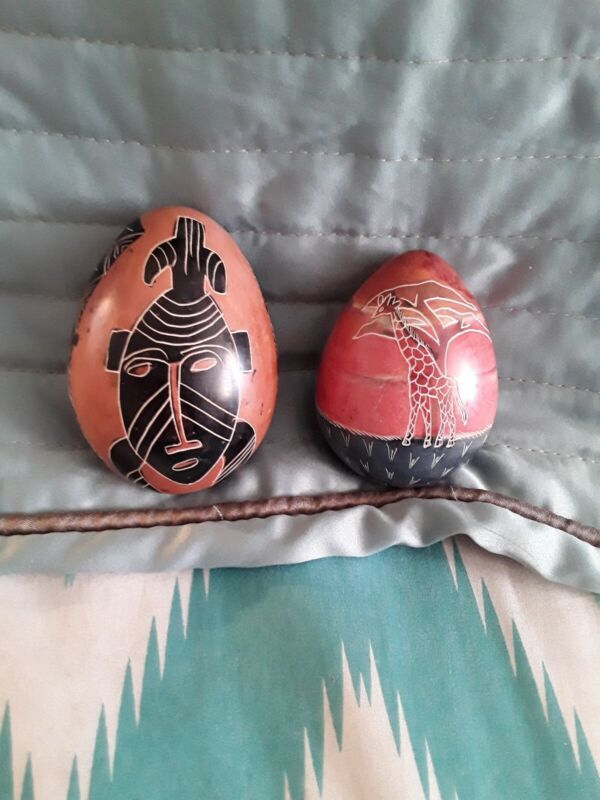 2 African Decorative Stone Eggs Hand Painted Made in Kenys