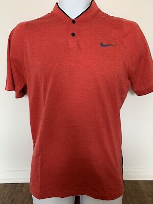 Tiger Woods Nike Dri-Fit Mens Golf Collection Red Snap Polo Shirt Small