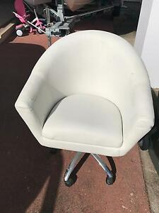 White leather look chair Broadbeach Gold Coast City Preview
