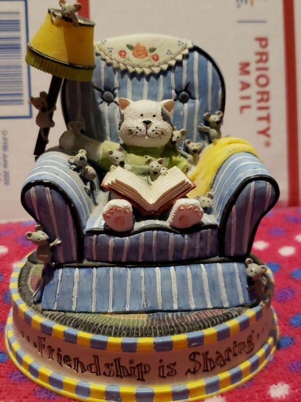 RARE The San Francisco Music Box Company RUTH NINEMAN Cat reading a book to mou