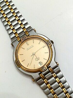 Vintage Authentic GUCCI Watch 9000M Gold & Stainless Steel