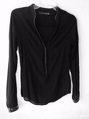 ZARA Women Black Shirt Blouse Top. Size XS. Long Sleeve